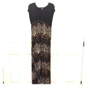 Pink Blush black + print empire knit  maxi dress